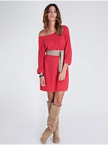 Sienna Jumper Dress - style: jumper dress; length: mid thigh; neckline: round neck; sleeve style: extended cuff; fit: loose; predominant colour: bright orange; occasions: casual, evening, work; fibres: cotton - mix; sleeve length: long sleeve; texture group: knits/crochet; trends: volume; pattern type: knitted - fine stitch; pattern size: standard