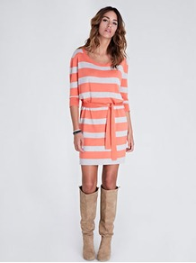 Monica Stripe Dress - style: jumper dress; pattern: horizontal stripes, striped; waist detail: belted waist/tie at waist/drawstring; predominant colour: coral; occasions: casual; length: just above the knee; fit: body skimming; neckline: scoop; fibres: wool - mix; sleeve length: 3/4 length; sleeve style: standard; texture group: knits/crochet; trends: striking stripes; pattern type: knitted - other; pattern size: standard