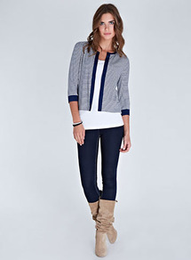 Drew Stripe Jacket - pattern: horizontal stripes, striped; collar: round collar/collarless; style: boxy; predominant colour: navy; occasions: casual, evening, work, holiday; length: standard; fit: straight cut (boxy); fibres: polyester/polyamide - stretch; bust detail: contrast pattern/fabric/detail at bust; sleeve length: 3/4 length; sleeve style: standard; texture group: knits/crochet; collar break: high; pattern type: fabric; pattern size: small &amp; busy
