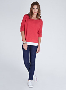 Sienna Jumper - neckline: round neck; style: standard; predominant colour: bright orange; occasions: casual, work; length: standard; fibres: cotton - mix; fit: loose; sleeve length: extra long; sleeve style: standard; texture group: knits/crochet; pattern type: knitted - fine stitch; pattern size: standard