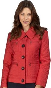 Scarlet Diamond Quilted Jacket - pattern: plain; length: standard; bust detail: added detail/embellishment at bust; style: quilted; hip detail: front pockets at hip, fitted at hip; predominant colour: true red; occasions: casual, work; fit: tailored/fitted; fibres: polyester/polyamide - mix; collar: shirt collar/peter pan/zip with opening; waist detail: fitted waist; sleeve length: long sleeve; sleeve style: standard; texture group: technical outdoor fabrics; collar break: high; pattern type: fabric; pattern size: small & light