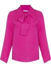 Snake Print Silk Shirt - pattern: plain; neckline: pussy bow; style: blouse; predominant colour: hot pink; occasions: casual, work; length: standard; fibres: silk - 100%; fit: body skimming; sleeve length: long sleeve; sleeve style: standard; texture group: silky - light; pattern type: fabric
