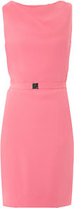 Bebe Dress - style: shift; length: mid thigh; neckline: slash/boat neckline; fit: tailored/fitted; pattern: plain; sleeve style: sleeveless; waist detail: belted waist/tie at waist/drawstring; predominant colour: pink; occasions: evening, occasion; fibres: polyester/polyamide - mix; sleeve length: sleeveless; texture group: crepes; pattern type: fabric