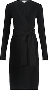 Linda Wrap Dress - style: faux wrap/wrap; neckline: low v-neck; pattern: plain; waist detail: belted waist/tie at waist/drawstring; predominant colour: black; occasions: casual, work; length: on the knee; fit: body skimming; fibres: wool - mix; sleeve length: long sleeve; sleeve style: standard; pattern type: fabric; texture group: jersey - stretchy/drapey