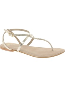 Frenzy Leather Flat Sandals - predominant colour: champagne; occasions: casual, evening, holiday; material: leather; heel height: flat; ankle detail: ankle strap; heel: standard; toe: toe thongs; style: flip flops / toe post; trends: metallics; finish: metallic; pattern: plain