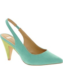 Santa Monica Heels - predominant colour: turquoise; occasions: evening; material: faux leather; heel height: mid; heel: cone; toe: pointed toe; style: slingbacks; finish: plain; pattern: plain