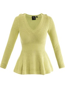 V Neck Peplum Sweater - neckline: v-neck; pattern: plain; shoulder detail: obvious epaulette; style: standard; predominant colour: lime; occasions: casual; length: standard; fibres: cotton - mix; fit: standard fit; waist detail: peplum detail at waist; sleeve length: long sleeve; sleeve style: standard; texture group: knits/crochet; pattern type: knitted - other