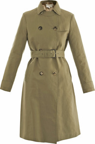 Technical Raw Edge Trench Coat - pattern: plain; style: trench coat; length: on the knee; predominant colour: khaki; occasions: casual, work; fit: tailored/fitted; fibres: cotton - 100%; collar: shirt collar/peter pan/zip with opening; waist detail: belted waist/tie at waist/drawstring; back detail: back vent/flap at back; sleeve length: long sleeve; sleeve style: standard; texture group: cotton feel fabrics; collar break: high; pattern type: fabric