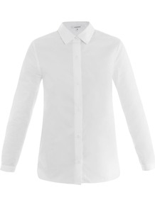 Cotton Poplin Shirt - neckline: shirt collar/peter pan/zip with opening; pattern: plain; style: shirt; predominant colour: white; occasions: casual, work; length: standard; fibres: cotton - 100%; fit: body skimming; sleeve length: long sleeve; sleeve style: standard; texture group: cotton feel fabrics; pattern type: fabric