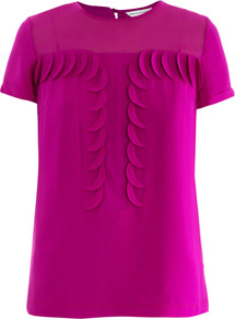 Raelynn Ballet Top - neckline: round neck; pattern: plain; bust detail: ruching/gathering/draping/layers/pintuck pleats at bust; predominant colour: hot pink; occasions: casual, evening, work; length: standard; style: top; fibres: silk - 100%; fit: straight cut; sleeve length: short sleeve; sleeve style: standard; texture group: silky - light; pattern type: fabric