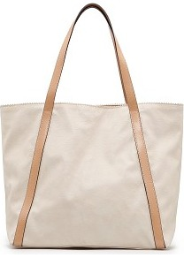 Touch Shopper Bag - predominant colour: stone; occasions: casual, work; type of pattern: light; style: tote; length: handle; size: oversized; material: faux leather; pattern: plain, two-tone; finish: plain