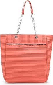 Touch Quilted Chain Shopper Bag - predominant colour: coral; occasions: casual, work, holiday; type of pattern: standard; style: tote; length: shoulder (tucks under arm); size: oversized; material: fabric; pattern: plain; finish: plain; embellishment: chain/metal