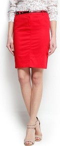 Pencil Skirt With Belt - pattern: plain; style: pencil; fit: tailored/fitted; waist detail: belted waist/tie at waist/drawstring; waist: mid/regular rise; predominant colour: true red; occasions: casual, evening, work; length: just above the knee; fibres: cotton - stretch; pattern type: fabric; texture group: other - light to midweight