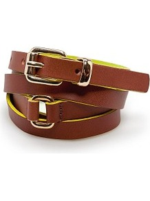 Touch Double Wrap Leather Belt - predominant colour: tan; occasions: casual, work; type of pattern: light; style: double length; size: skinny; worn on: waist; material: leather; pattern: plain, two-tone; trends: fluorescent; finish: plain; embellishment: buckles, chain/metal