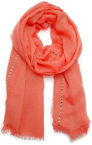Touch Studded Foulard - predominant colour: coral; occasions: casual, work; type of pattern: light; style: regular; size: standard; material: fabric; embellishment: fringing, studs; pattern: plain