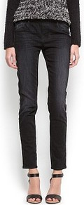 Denim Jeggings - pattern: plain; style: jeggings; pocket detail: traditional 5 pocket; waist: mid/regular rise; predominant colour: black; occasions: casual, evening; length: ankle length; fibres: cotton - stretch; jeans detail: dark wash; texture group: denim; pattern type: fabric