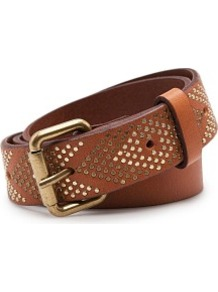 Touch Arrows Leather Belt - predominant colour: tan; occasions: casual, work; type of pattern: standard; style: classic; size: standard; worn on: hips; material: leather; embellishment: studs; pattern: plain, patterned/print; finish: plain