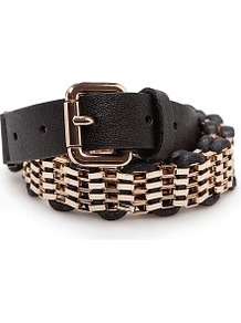 Touch Woven Drawcord Chain Belt - predominant colour: black; occasions: casual, evening, work; type of pattern: large; style: chainlink; size: standard; worn on: hips; material: faux leather; pattern: plain, two-tone; trends: metallics; finish: plain; embellishment: chain/metal