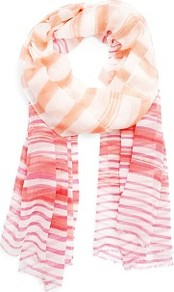 Striped Foulard - predominant colour: coral; occasions: casual, work; type of pattern: standard; style: regular; size: standard; material: fabric; embellishment: fringing; pattern: horizontal stripes; trends: striking stripes