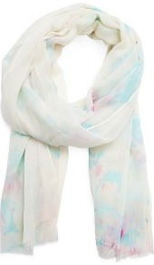 Watercolour Print Foulard - predominant colour: ivory; occasions: casual, work; type of pattern: light; style: regular; size: standard; material: fabric; embellishment: fringing; pattern: patterned/print