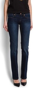 Straight Jeans - style: straight leg; length: standard; pattern: plain; waist: mid/regular rise; predominant colour: navy; occasions: casual, evening, work; fibres: cotton - stretch; jeans detail: dark wash; texture group: denim; pattern type: fabric