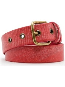 Rivets Leather Belt - predominant colour: coral; occasions: casual, work; type of pattern: standard; style: classic; size: standard; worn on: hips; material: leather; pattern: plain; finish: plain