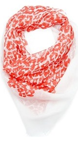 Animal Print Foulard - predominant colour: coral; occasions: casual, work; type of pattern: standard; style: square; size: standard; material: fabric; embellishment: fringing; pattern: animal print