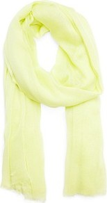 Frayed Endings Foulard - predominant colour: primrose yellow; occasions: casual, work; type of pattern: standard; style: regular; size: standard; material: fabric; embellishment: fringing; pattern: plain