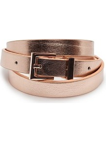 Slim Metallic Belt - predominant colour: gold; occasions: casual, evening, work; type of pattern: standard; style: classic; size: skinny; worn on: waist; material: faux leather; pattern: plain; trends: metallics; finish: metallic