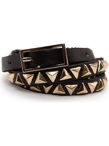 Pyramid Studs Leather Belt - predominant colour: black; occasions: casual, evening; type of pattern: large; style: classic; size: skinny; worn on: waist; material: leather; embellishment: studs; pattern: plain; trends: metallics; finish: plain