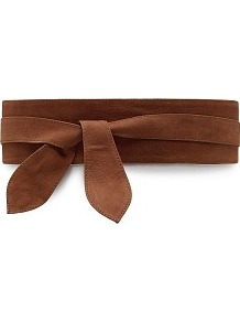 Leather Obi Belt - predominant colour: tan; occasions: casual, evening, work; type of pattern: standard; style: obi; size: wide; worn on: waist; material: leather; pattern: plain; finish: plain