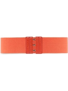 Triple Hook Elastic Belt - predominant colour: coral; occasions: casual, evening, holiday; type of pattern: standard; style: elasticated; size: wide; worn on: waist; material: fabric; pattern: plain; trends: fluorescent; finish: plain