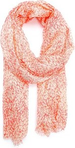 Touch Spotted Print Foulard - secondary colour: ivory; predominant colour: coral; occasions: casual, holiday; type of pattern: light; style: regular; size: standard; material: fabric; pattern: patterned/print