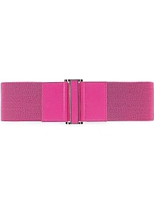 Elastic Waist Belt - predominant colour: hot pink; occasions: casual, evening, work, occasion; type of pattern: standard; style: elasticated; size: wide; worn on: waist; material: fabric; pattern: plain; finish: plain; embellishment: elasticated