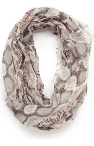 Touch Snake Skin Print Foulard - secondary colour: white; predominant colour: taupe; occasions: casual, holiday; type of pattern: large; style: snood; size: standard; material: fabric; pattern: patterned/print