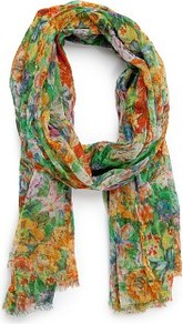 Touch Floral Print Foulard - occasions: casual, holiday; predominant colour: multicoloured; type of pattern: large; style: regular; size: standard; material: fabric; pattern: florals
