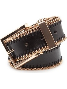 Touch Chain Trimmed Leather Belt - secondary colour: gold; predominant colour: black; occasions: casual, evening, work; type of pattern: small; style: classic; size: standard; worn on: waist; material: leather; pattern: plain; finish: plain; embellishment: chain/metal