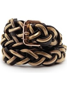 Touch Braided Chain Belt - secondary colour: gold; predominant colour: black; occasions: casual, evening, work; type of pattern: large; style: classic; size: standard; worn on: waist; material: faux leather; pattern: plain; finish: metallic; embellishment: chain/metal