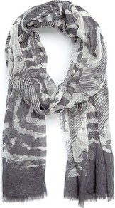 Touch Printed Cotton Foulard - secondary colour: white; predominant colour: mid grey; occasions: casual; type of pattern: heavy; style: regular; size: standard; material: fabric; pattern: patterned/print