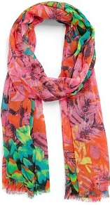 Touch Tropical Print Foulard - secondary colour: pink; predominant colour: bright orange; occasions: casual, holiday; type of pattern: heavy; style: regular; size: standard; material: fabric; pattern: florals