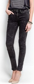 Biker Style Super Slim Jeans - length: standard; pattern: plain; pocket detail: traditional 5 pocket; style: slim leg; waist: mid/regular rise; predominant colour: black; occasions: casual; fibres: cotton - stretch; jeans detail: dark wash; texture group: denim; pattern type: fabric