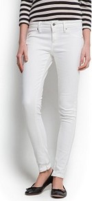 Super Slim Trousers - length: standard; pattern: plain; pocket detail: traditional 5 pocket; waist: mid/regular rise; predominant colour: white; occasions: casual, evening, holiday; fibres: cotton - stretch; texture group: denim; fit: slim leg; pattern type: fabric; style: standard