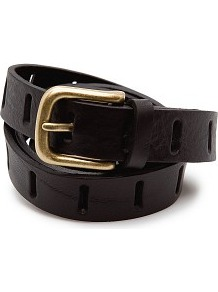 Drilled Leather Belt - predominant colour: black; occasions: casual, evening, work; type of pattern: standard; style: classic; size: standard; worn on: hips; material: leather; pattern: plain; finish: plain