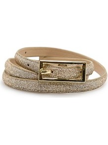 Slim Belt - secondary colour: gold; predominant colour: champagne; occasions: evening, occasion, holiday; type of pattern: standard; style: classic; size: skinny; worn on: waist; material: faux leather; embellishment: glitter; pattern: plain; trends: metallics; finish: plain