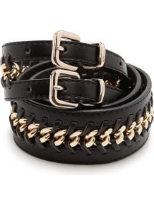 Chain Double Waist Belt - secondary colour: gold; predominant colour: black; occasions: casual, evening, work; type of pattern: light; style: classic; size: standard; worn on: hips; material: leather; pattern: plain; finish: plain; embellishment: chain/metal