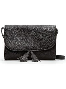 Shoulder Bag With Tassels - predominant colour: black; occasions: casual, evening, work; type of pattern: standard; style: shoulder; length: shoulder (tucks under arm); size: small; material: faux leather; embellishment: tassels; pattern: plain; finish: plain