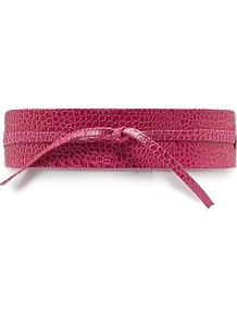 Croc Effect Sash Belt - predominant colour: hot pink; occasions: evening, work; type of pattern: standard; style: obi; size: wide; worn on: waist; material: faux leather; pattern: plain; finish: plain