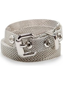 Metallic Mesh Slim Belt - predominant colour: silver; occasions: casual, evening, work; type of pattern: standard; style: classic; size: skinny; worn on: hips; material: chain/metal; pattern: plain; finish: metallic; embellishment: chain/metal