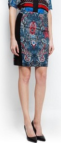Printed Panel Skirt - style: straight; waist: mid/regular rise; predominant colour: navy; secondary colour: black; occasions: casual, evening, work; length: just above the knee; fibres: cotton - stretch; texture group: cotton feel fabrics; trends: statement prints; fit: straight cut; pattern type: fabric; pattern size: big & busy; pattern: patterned/print
