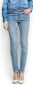 High Waist Super Slim Jeans - style: skinny leg; length: standard; pattern: plain; pocket detail: traditional 5 pocket; waist: mid/regular rise; predominant colour: pale blue; occasions: casual; fibres: cotton - stretch; texture group: denim; pattern type: fabric